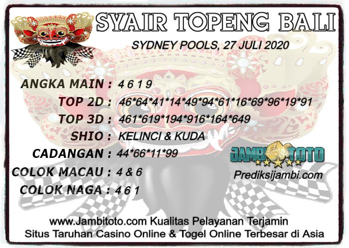 Prediksi Togel Sydney 27 Juli 2020 Jambitoto