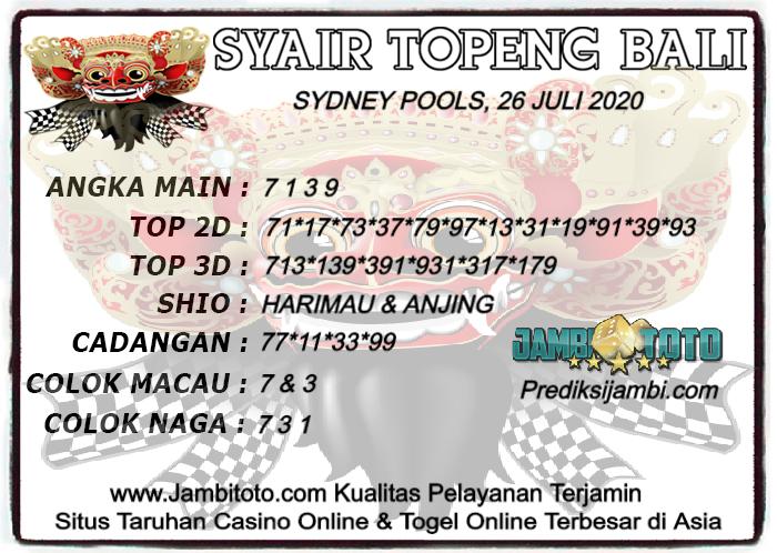 Prediksi Togel Sydney 26 Juli 2020 - Jambitoto