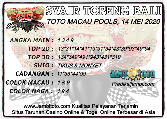 Syair Toto Macau kamis 14 mei 2020